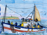 Painted Ceramic Tiles of a Fishing Boat, Algarve, Portugal Photographic Print by John & Lisa Merrill