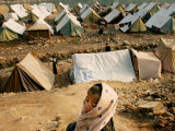 A Kashmiri Boy Left Homeless by October's Earthquake Looks Over a Refugee Camp Lmina fotogrfica