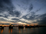Sections Forming Part of the Thames Barrier are Illuminated after Sunset Photographic Print