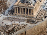 Visitors are Seen Outside the Ancient Parthenon Temple Photographic Print