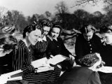 A Group of Polish Women at the Marie Curie School for Girls Study English with Their Teacher Photographic Print
