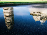 Leaning Tower Reflected in Puddle, Pisa, Italy Photographic Print by Martin Moos