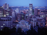 Night Skyline Seen from Mount Royal, Montreal Canada Photographic Print