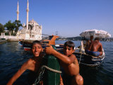Kids with Ortakoy Mosque in Background, Istanbul, Turkey Photographic Print by Phil Weymouth