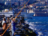 Men Fishing on Bosphorus River, Istanbul, Turkey Photographic Print by Phil Weymouth