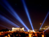 Beams of Light Illminate the Ancient Acropolis Photographic Print