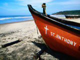 Fishing Boats on Beach, Arambol, India Photographic Print by Michael Taylor