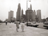 Two Ladies Walking the Sidewalk Skyscrapers in Chicago America's Windy City, in the 1960s Photographic Print