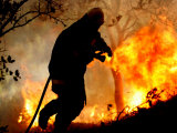 A Fire Fighter Retreats from a Forest Fire Near Fraldeu, Central Portugal Photographic Print