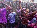 People, Faces Smeared with Colors, Celebrate Holi Lmina fotogrfica
