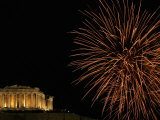 Fireworks Illuminate the Ancient Parthenon Atop the Acropolis Hill Photographic Print