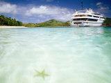 Blue Lagoon Cruises Ship and Starfish in Water, Fiji Fotografie-Druck von Peter Hendrie