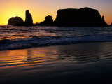 Sea Stacks Silhouetted at Sunset at Bandon State Park, Bandon, U.S.A. Photographic Print by Ruth & Paoli, Max Eastham