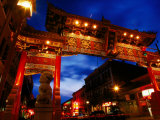 Chinatown Main Gate at Night, Victoria, Canada Photographic Print by Lawrence Worcester