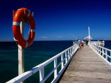 Life Buoy and Fishermen on Pier, Point Lonsdale, Australia Photographic Print by Dallas Stribley