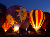 Flames Light up the Evening as Hot Air Balloonists Participate Photographic Print