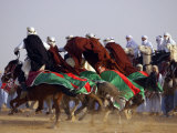 Tunisian Men Ride Their Arab Stallions During a Race the 36th Sahara Festival of Douz Photographic Print