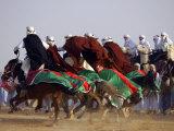 Tunisian Men Ride Their Arab Stallions During a Race the 36th Sahara Festival of Douz Photographic Print