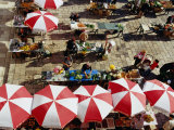 Overhead of Umbrellas and Stalls at Gunduliceva Poljana Market, Dubrovnik, Croatia Photographic Print by Richard Nebesky
