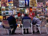 Men Sitting at Outdoor Art Gallery Near Florian Gate, Krakow, Poland Photographic Print by Krzysztof Dydynski