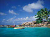Boats and Tropical Beach on St. Pierre Islet, Seychelles Photographic Print by Nik Wheeler