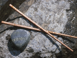 Rock with the Word Friend and Chopsticks on Rock Photographic Print