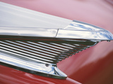 Vintage Chrome Fin on Sleek Red Car Photographic Print
