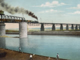 Railway Train Rattles Over the Impressively Long Panhandle Bridge at Louisville Kentucky Photographic Print