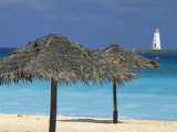 Lighthouse and Thatch Palapa, Nassau, Bahamas, Caribbean Photographic Print by Greg Johnston
