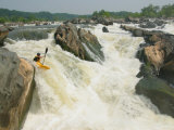 Kayaker Paddles off Grace Under Pressure, Top Drop of Great Falls Photographic Print by Skip Brown