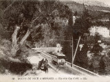 On Its Way from Nice to Monaco a Tram Passes a Horse- Drawn Cart on the Corniche Photographic Print