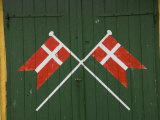 Denmark, Dannebrog, Danish Flag on the Doors of Rescue Station Photographic Print by  Keenpress
