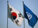 The Flags of South Korea and the United Nations Wave in the Breeze Photographic Print by Michael S. Yamashita