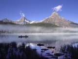 Fishermen in Canoe on Waterfowl Lake, Banff National Park, Canada Photographic Print by Janis Miglavs
