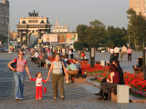 People in Victory Park with Triumphal Arch in Distance, Moscow, Russia Photographic Print by Jonathan Smith