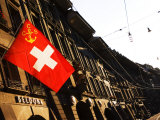 Swiss Flag on Marktgasse, Bern, Switzerland Photographic Print by Glenn Beanland