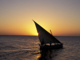 Sunset on a Felucca Fishing Boat, Tunisia Stampa fotografica di Michele Molinari