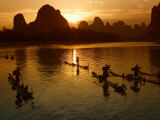 Bamboo Rafts on the Li River at Sunset, China Photographic Print by Keren Su