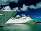 Two Cruise Ships Docked at a Caribbean Port Photographic Print by Todd Gipstein