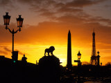 Place de la Concorde, Eiffel Tower, Obelisk, Paris, France Photographic Print by David Barnes