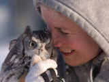 A Woman Holds an Endangered Eastern Screech Owl at a Recovery Center Fotografie-Druck von Joel Sartore