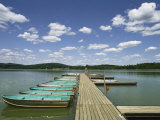 Row of Boats Lined up Against a Floating Dock on Shepherd Lake Photographic Print by Steve Winter