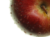 Close-up of a Juicy Red Apple with Shiny Water Droplets Photographic Print