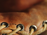 Close-up of Leather Baseball Glove Stitching Photographic Print