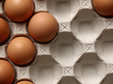 Close-up of Fresh Brown Eggs in a Cardboard Carton Photographic Print