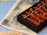 Japanese Currency, Map and Abacus Photographic Print by Gary Conner