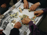 Locals Play a Chinese Card Game on a Newspaper in a Wuhan Park Photographic Print by  xPacifica
