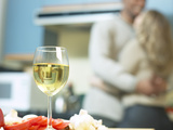 Glass of White Wine in Kitchen Photographic Print