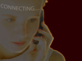 Woman Using Cell Phone with Superimposed Word Connecting Photographic Print