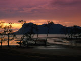 Sunset Over Telok Assam with Santubong in the Background, Bako National Park, Malaysia Photographic Print by Mark Daffey